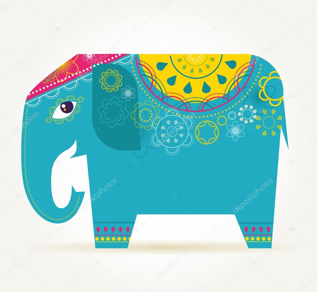 India - background with patterned elephant