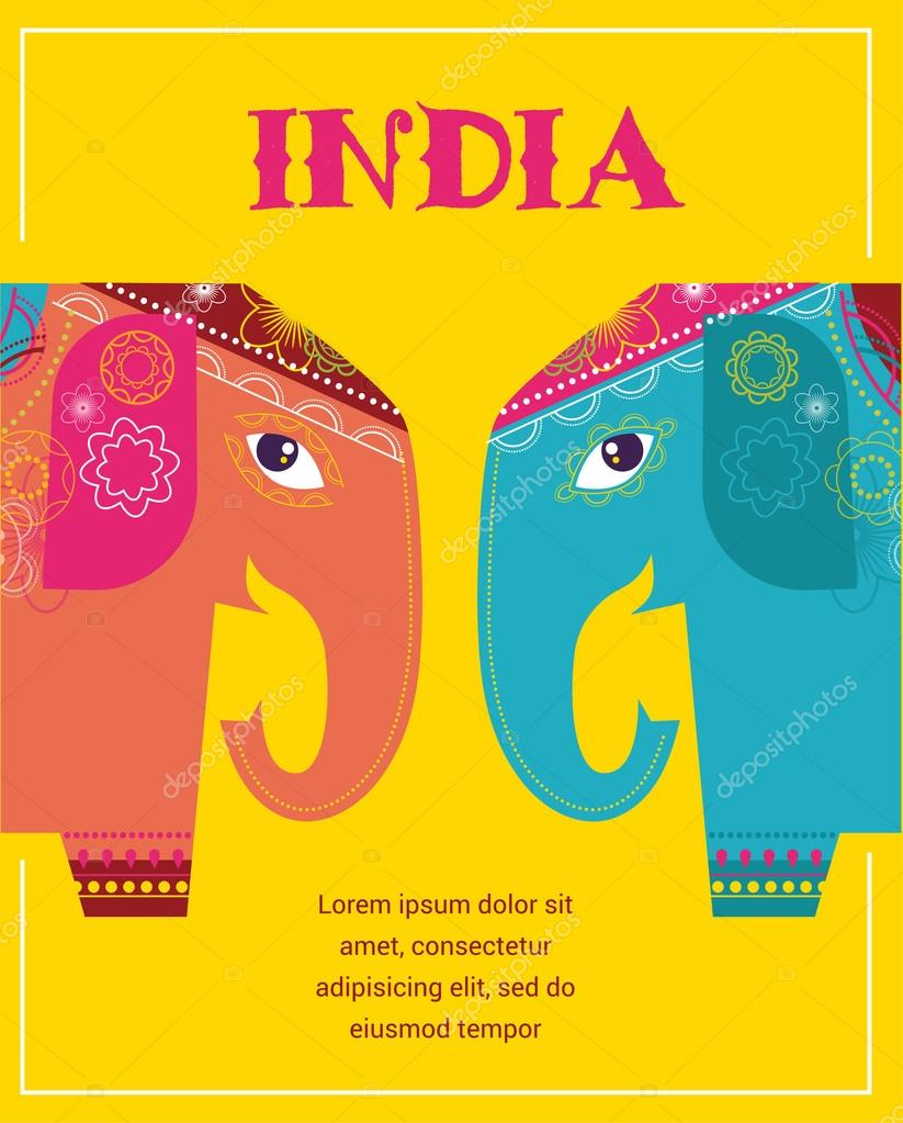 India - background with patterned elephants