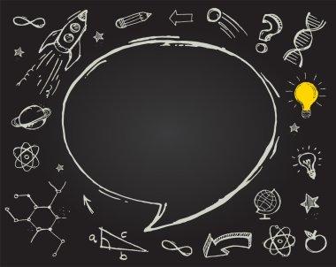 education, science doodles on chalkboard