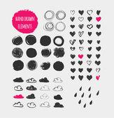 Ručně kreslenou tvary, ikony, prvky a srdce