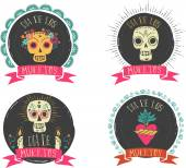 Fotografie drucken - mexikanische Schädel-Set, Tag der Toten