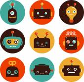 Robot cute icons and characters