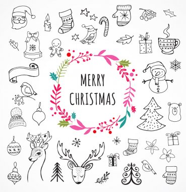 Merry Christmas - Doodle Xmas symbols, hand drawn illustrations