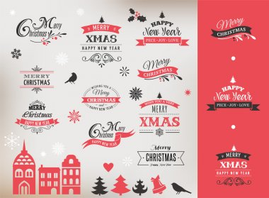 Christmas design collection, lettering and typographic elements