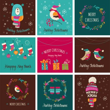 Merry Christmas Design Greeting cards - doodle illustrations