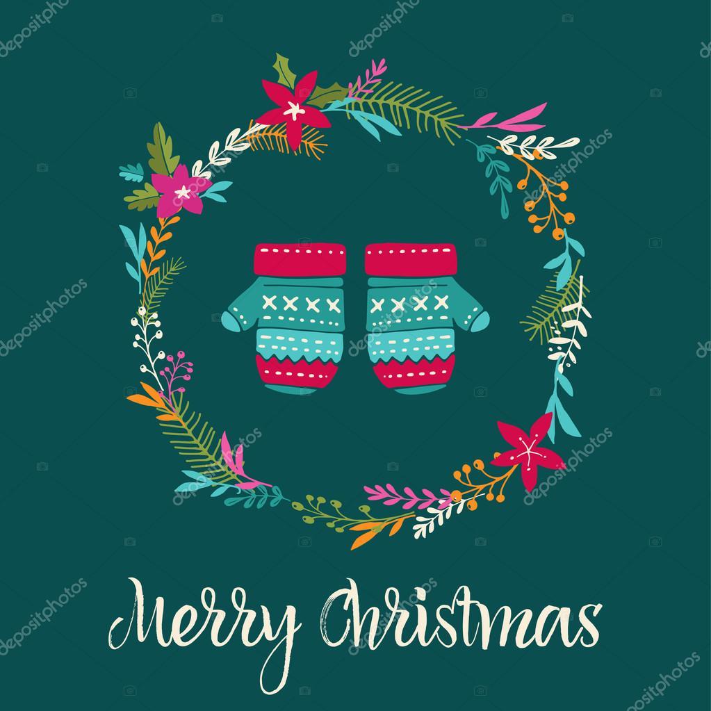 gestrickte Handschuhe Weihnachten Hintergrund, Merry Christmas-Karte ...