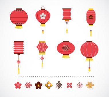 Set of Chinese red lanterns and elements