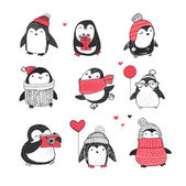Photo Cute hand drawn penguins set - Merry Christmas greetings