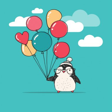 Cute penguin with balloons - Merry Christmas