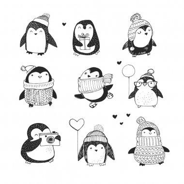 Cute hand drawn penguins set - Merry Christmas greetings