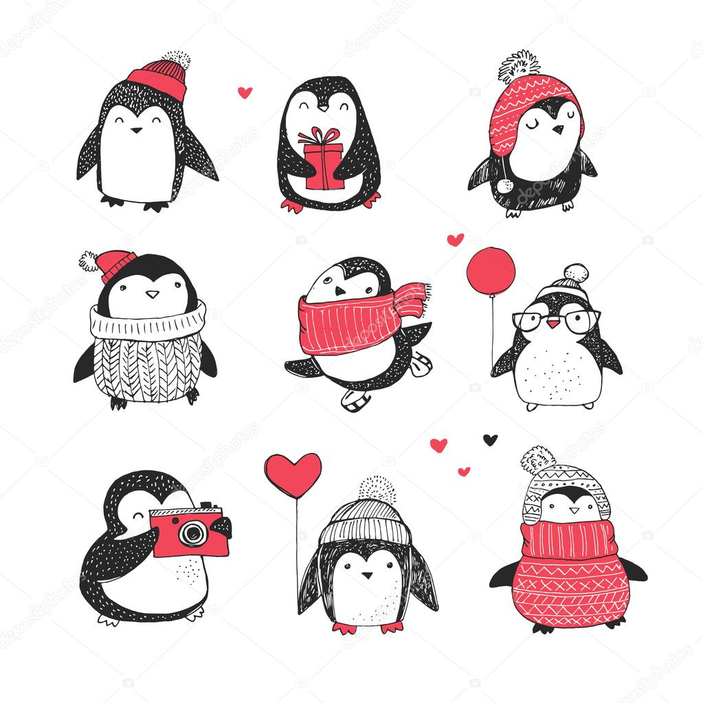 Cute Hand Drawn Penguins Set Merry Christmas Greetings Stock