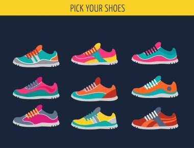 Vector running, sprort and gym shoes
