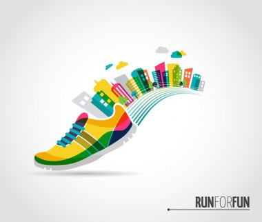 Vector poster - running, sport shoe and the city