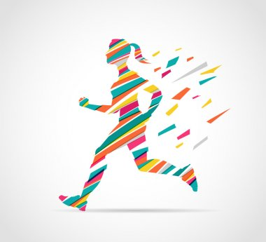 woman running, jogging - colorful illustration