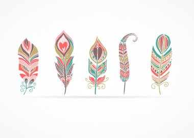 Hand drawn bohemian, tribal, ethnic feathers. Colorful set