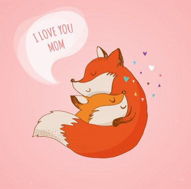 Fox, cute, lovely illustration and greetin card, Mothers day