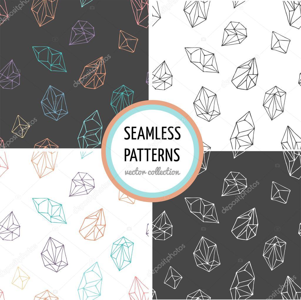 Cristales - colección de patrones dibujados a mano sin costura ...
