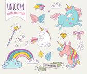 roztomilý kouzelné kolekce s unicon, rainbow, víla křídla