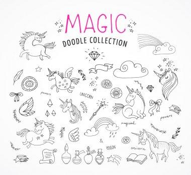 hand drawn, magic, unicorn and fairy doodles