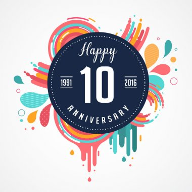 anniversary - abstract background with icons and elements