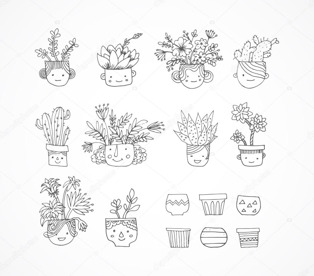 Cute hand drawn cactus set with faces