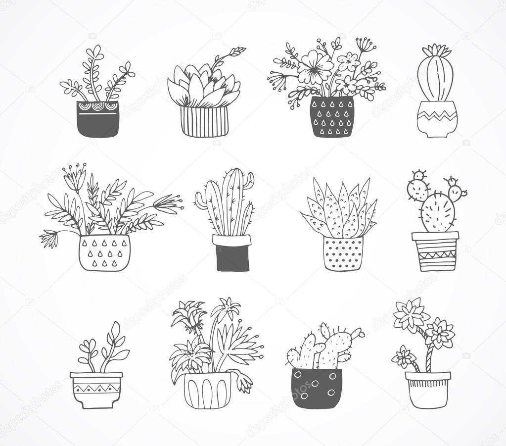 Süße Hand Gezeichnete Skizze Gekritzel Kaktus Satz Stockvektor