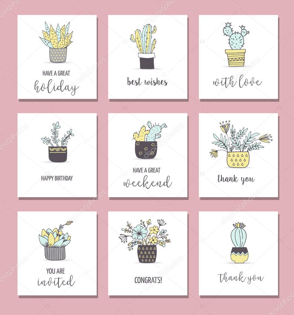 Cute hand drawn cactus cards set