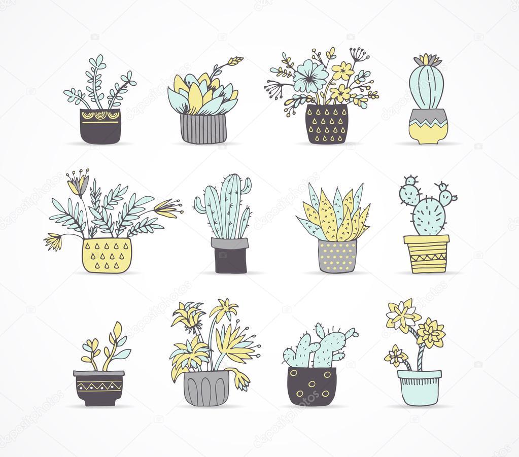 Cute hand drawn cactus set
