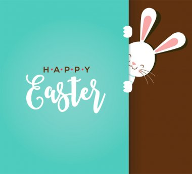 Colorful Happy Easter greeting card with rabbit, bunny, eggs and banners