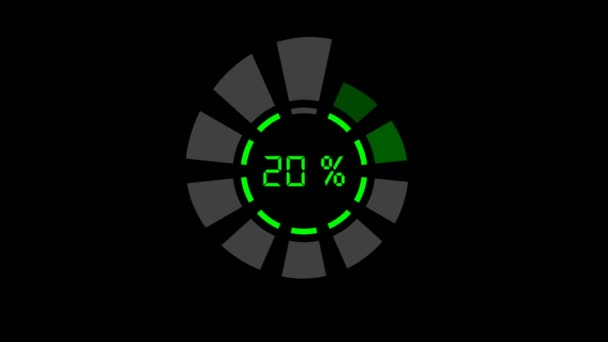 Progress bar - digital style, radial design, 2 wheels, green on black