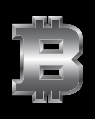 Rectangular beveled metal font - bitcoin currency symbol