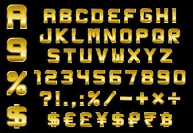 Alphabet, numbers, currency and symbols pack - rectangular bevel