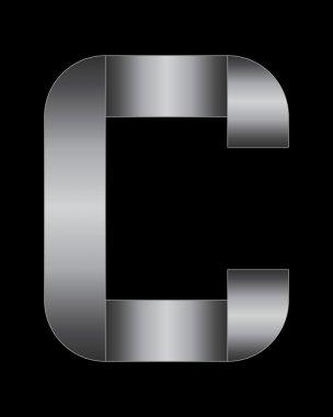 rectangular bent metal font, letter C