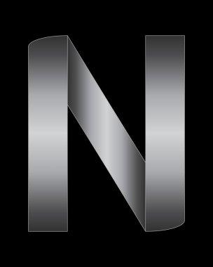rectangular bent metal font, letter N