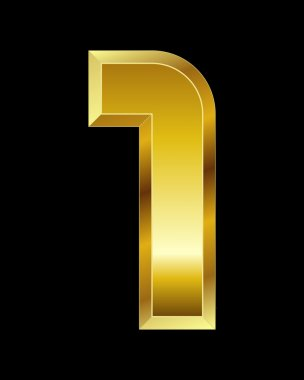Rectangular beveled golden font, number 1