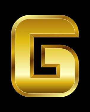 Rectangular beveled golden font, letter G