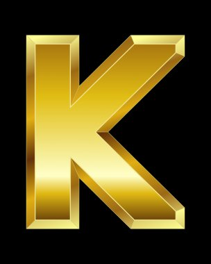 Rectangular beveled golden font, letter K