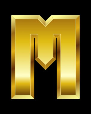 Rectangular beveled golden font, letter M