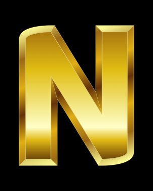 Rectangular beveled golden font, letter N