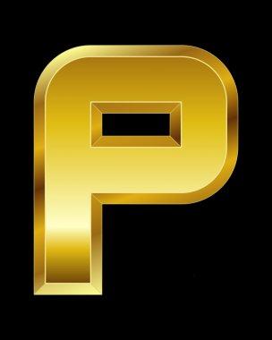 Rectangular beveled golden font, letter P