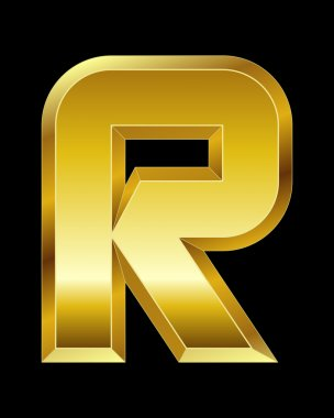 Rectangular beveled golden font, letter R