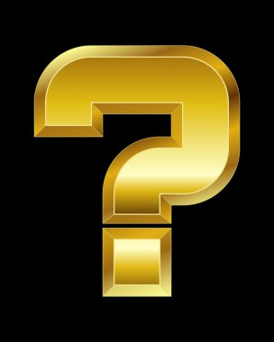 rectangular beveled golden font, question mark