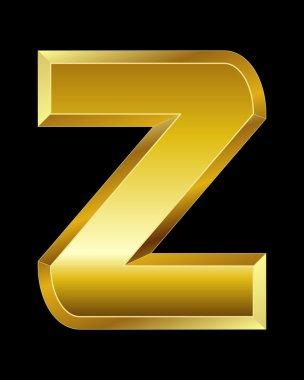 Rectangular beveled golden font, letter Z