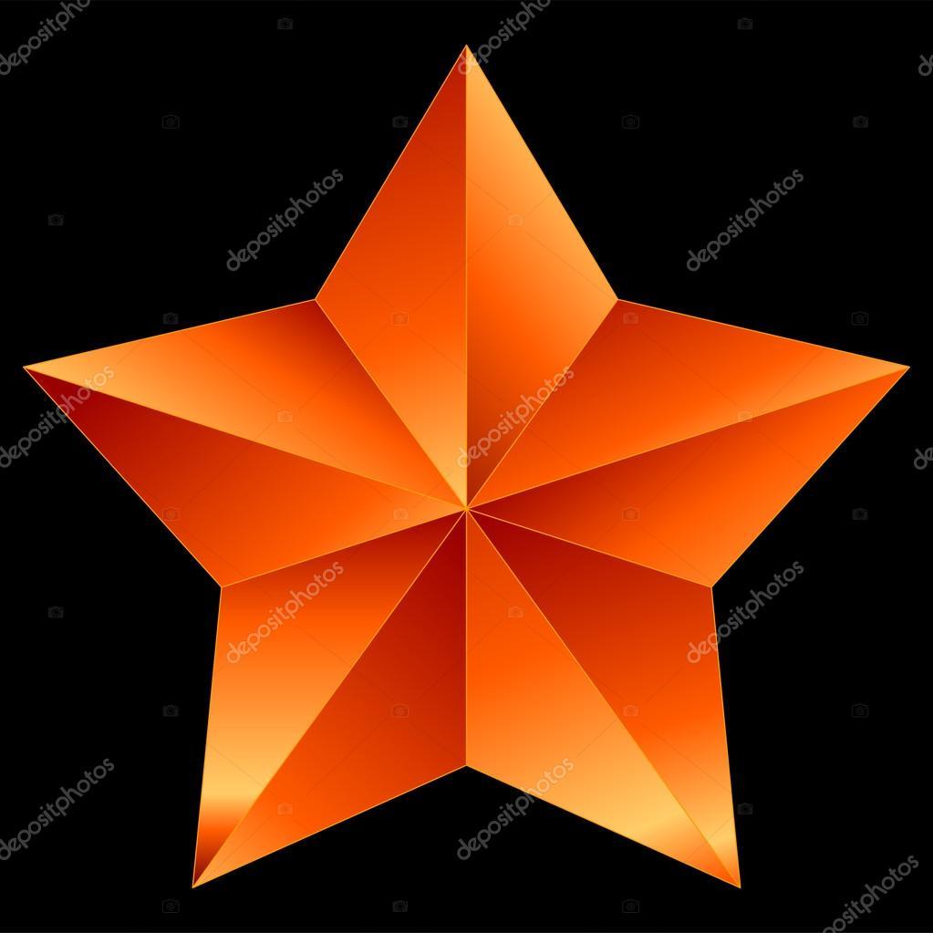 Orange De Noël étoile Rouge Isolé Sur Fond Noir Image
