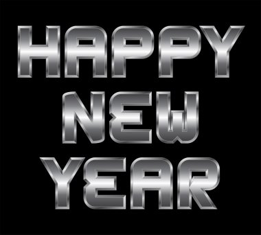 Happy New Year, metal greeting, black background