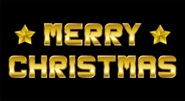 Merry Christmas, golden greeting, black background