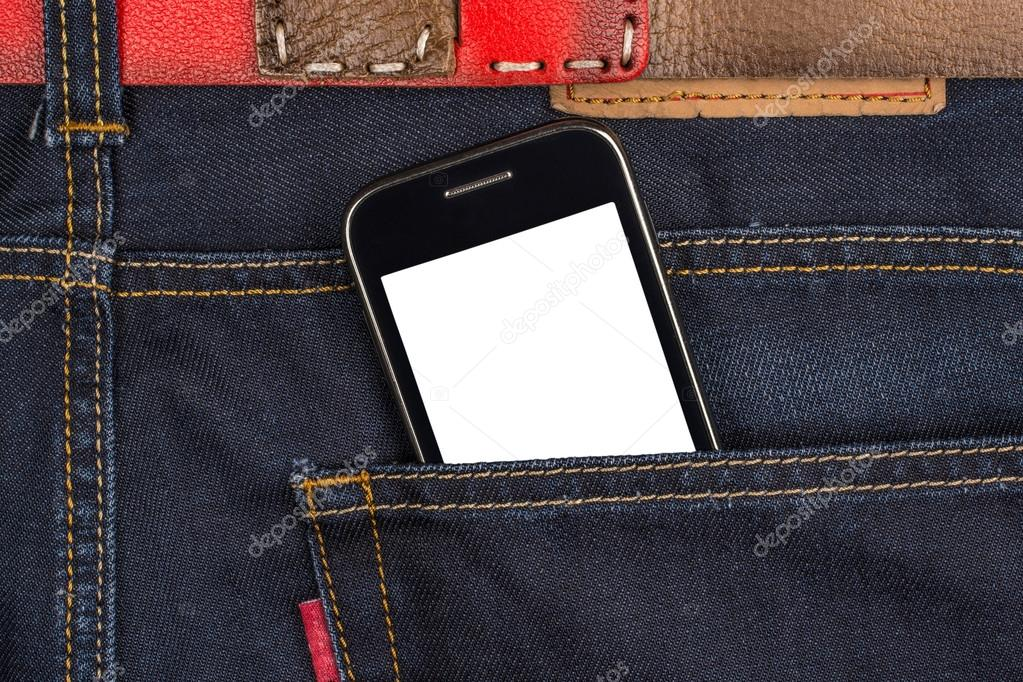 Cellular phone in jeans pocket, put your own text on the
