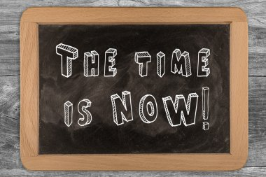 The time is now! - New chalkboard with 3D outlined text - on woo
