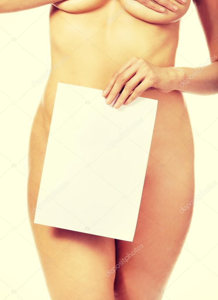 Attractive sexy nude woman holding blank banner