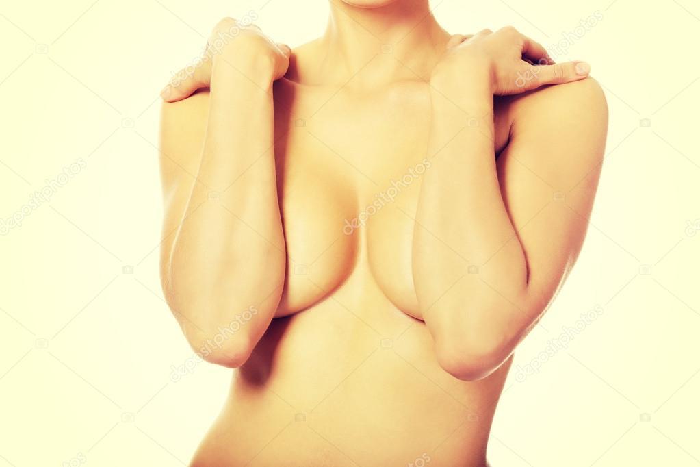 Close up on female boobs in black bra duvet cover for sale by piotr marcinski